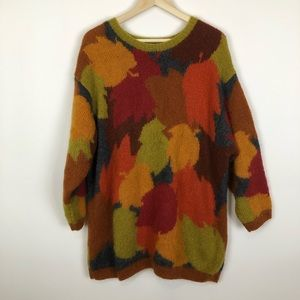 Vintage AnnKlein fall leaves mohair sweater xl/xxl